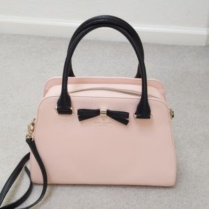 Kate Spade Pastel Pink Bow Pebble Leather Satchel